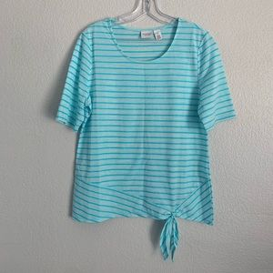 Chico's | Blue striped shortsleeve top 1 M 8